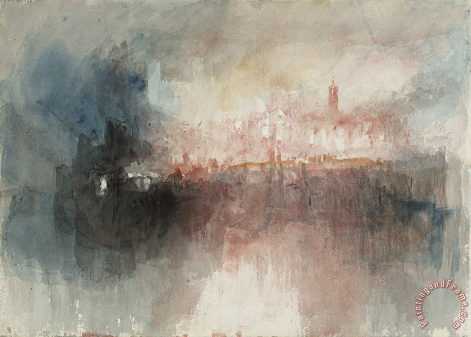 Joseph Mallord William Turner From Fire at The Tower of London Sketchbook [finberg Cclxxxiii], Fire at The Grand Storehouse of The Tower of London Art Painting